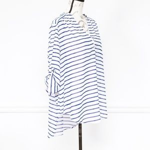 torrid Tops - Torrid Navy and white striped blouse, size 1